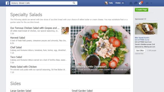 menu on facebook - Hickory Street Cafe