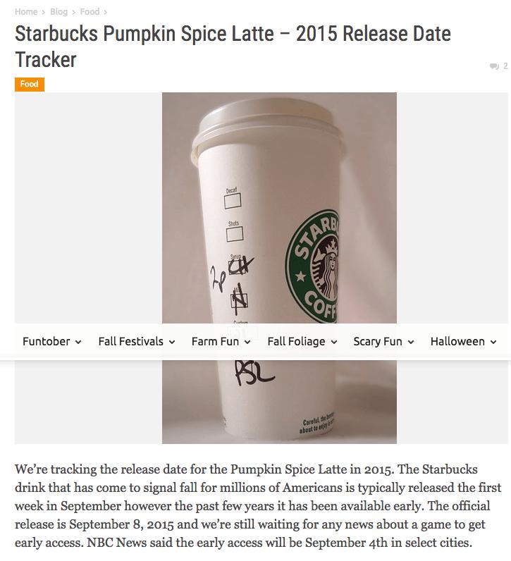 Starbucks Pumpkin Spice Latte 2015 Release Date Tracker Funtober