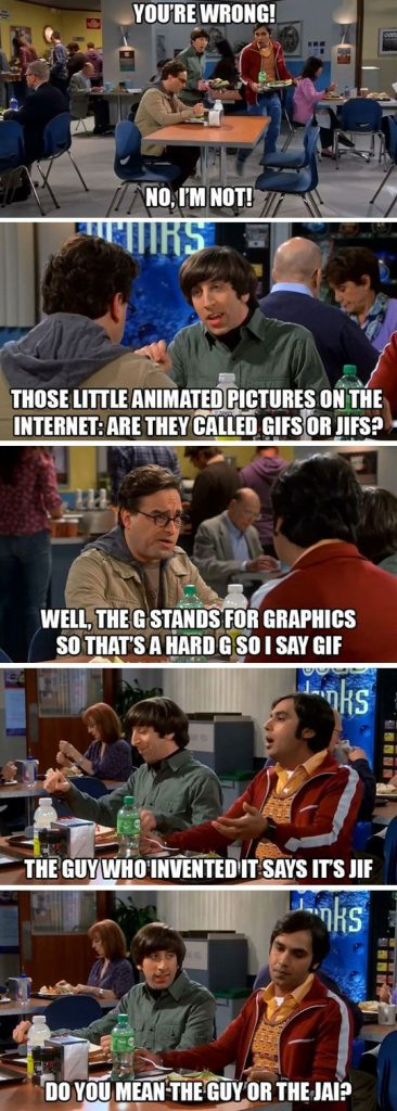 gif pronunciation - big bang theory
