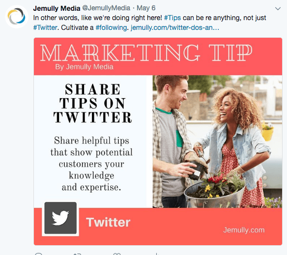 A graphic illustrating a marketing tip, shared in a Twitter feed.