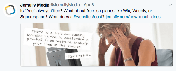 Sample tweet from @jemullymedia