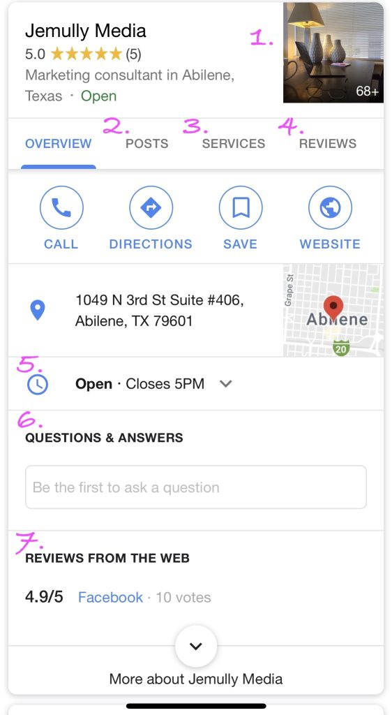 Sample of a verified Google knowledge panel, mobile view.